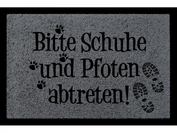 Fußmatte: Bitte Schuhe und Pfoten abtreten, dunkelgrau