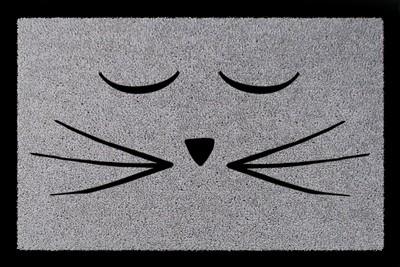 Fußmatte: Katze Schnurrbart, hellgrau