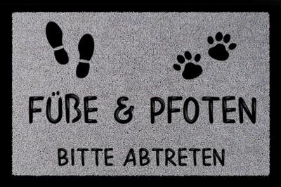 Fußmatte: Füße und Pfoten bitte abtreten, hellgrau