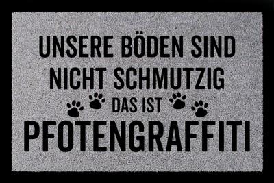 Fußmatte: Pfotengraffiti Hund, hellgrau