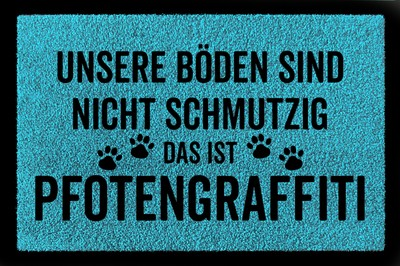 Fußmatte: Pfotengraffiti Hund, türkisblau