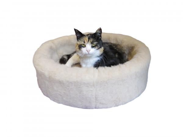 Kuschelkorb aus reiner Schafwolle - das NaturoTherm Katzenkörbchen