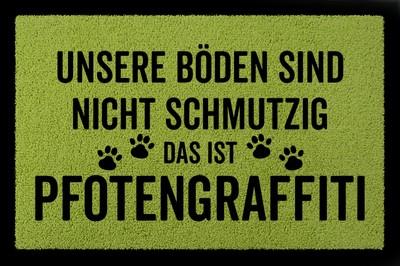 Fußmatte: Pfotengraffiti Hund, grün