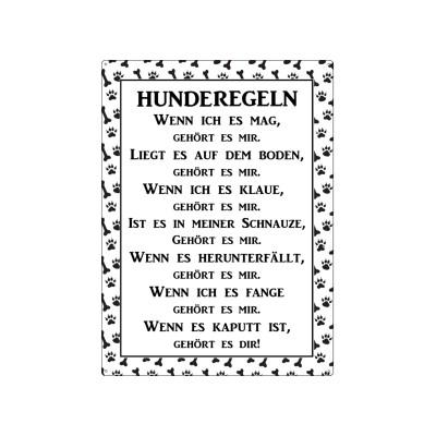 Metallschild/ Wandschild: HUNDEREGELN