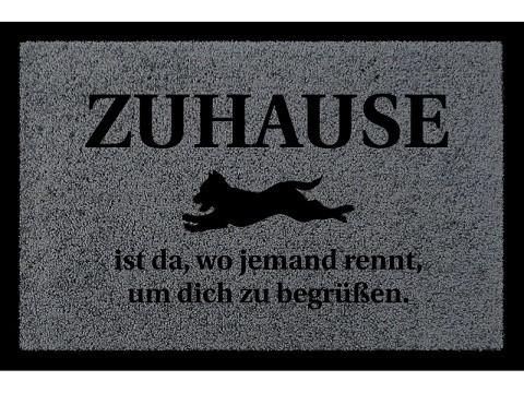 Fußmatte: ZUHAUSE IST DA WO JEMAND RENNT, dunkelgrau